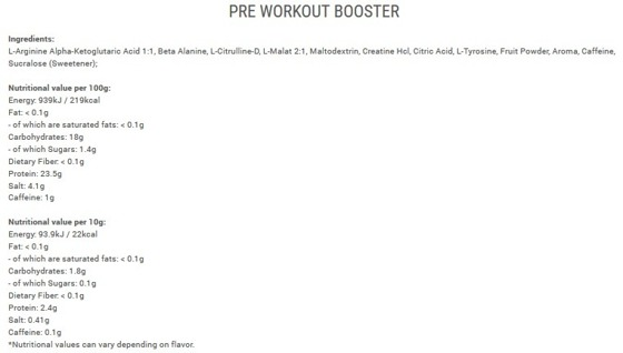 Pre Workout Booster 300g