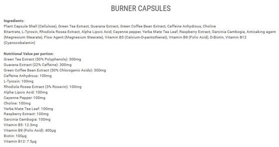 Burner 120 caps