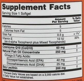 NowFoods Koenzym CoQ10 z kwasem omega-3 60 caps