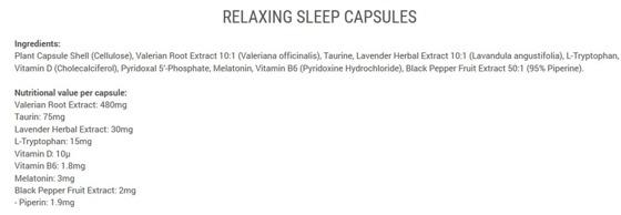 Relaxing Sleep 90 caps